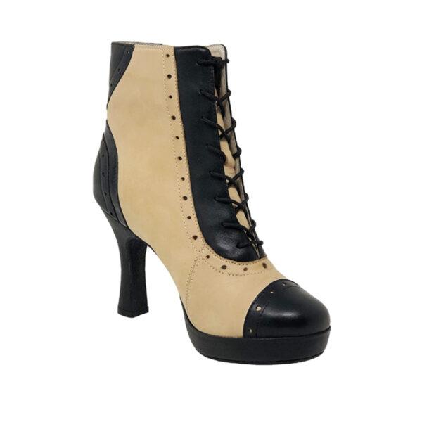 "Czarina Chic Plat.0.5""-Leather BlkTaupe F3.5-I"