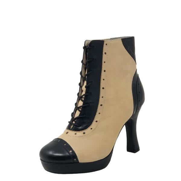 "Czarina Chic Plat.0.5""-Leather BlkTaupe-F3.5-O"