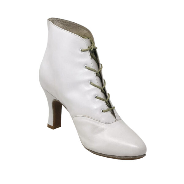 Lady Di-Double Sole-Rubber Sole- Leather-White- N3-I